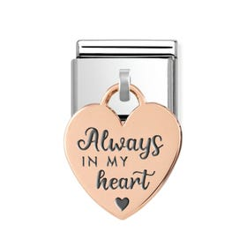 """Classic Rose Gold """"Always in my Heart"""" Heart Pendant Charm"""