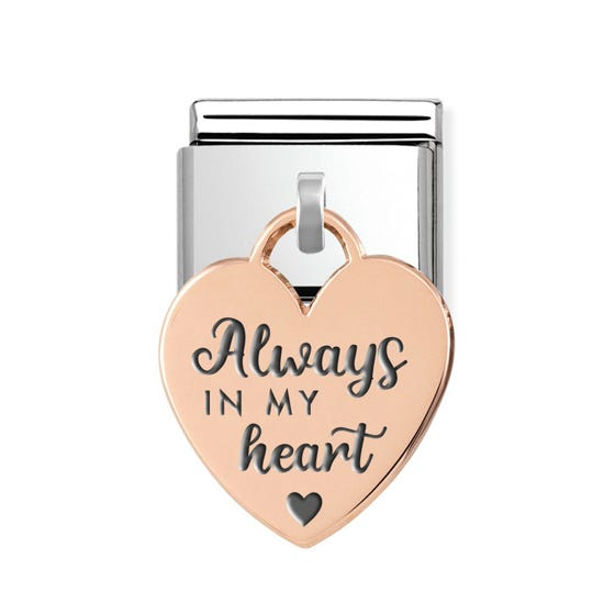 "Classic Rose Gold ""Always in my Heart"" Heart Pendant Charm"