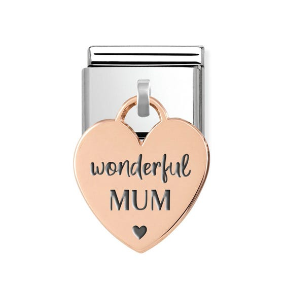 Classic Rose Gold Wonderful Mum Heart Pendant Charm