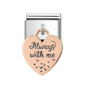 Classic Rose Gold Always With Me Heart Pendant Charm