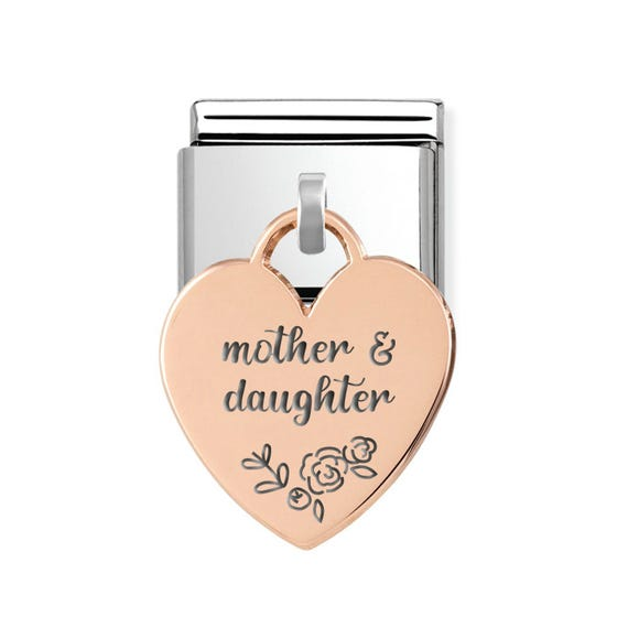 Classic Rose Gold Mother & Daughter Floral Heart Pendant Charm