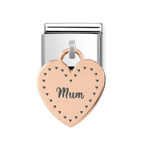 Classic Rose Gold Mum in Hearts Heart Pendant Charm