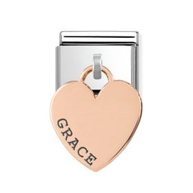 Classic Rose Gold Personalised Name Heart Pendant Charm