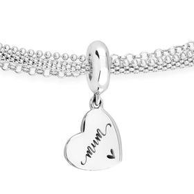 Silver Mum Script Flat Heart Charm Chain Bracelet