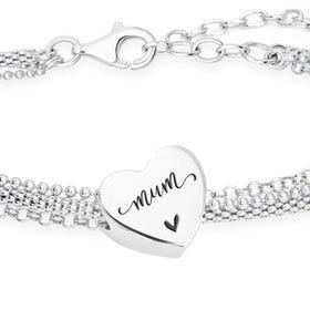 Silver Mum Script Heart Charm Chain Bracelet