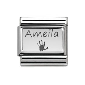 Classic Silver Handprint with Name Charm
