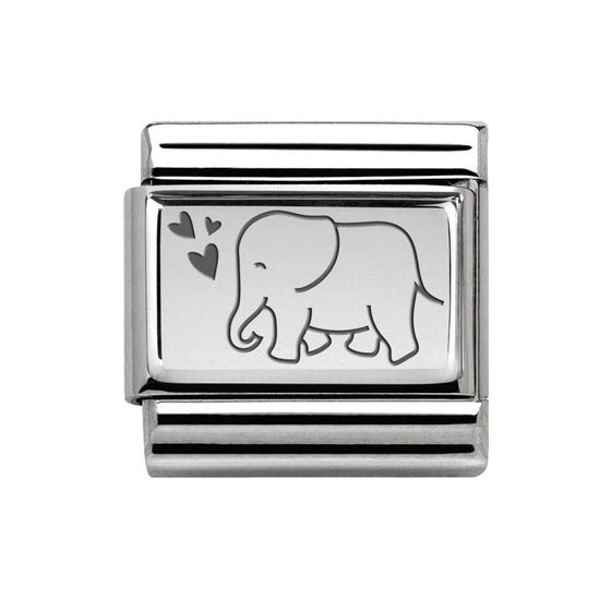 Classic Silver Elephant with Hearts Charm