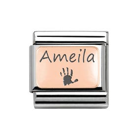 Classic Rose Gold Handprint with Name Charm