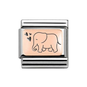 Classic Rose Gold Elephant with Hearts Charm