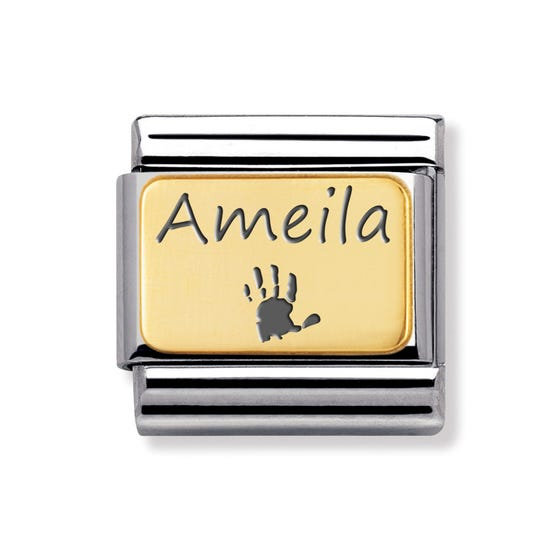 Classic Gold Handprint with Name Charm