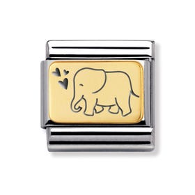 Classic Gold Elephant with Hearts Charm