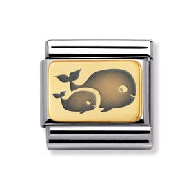 Classic Gold Whale Family Charm