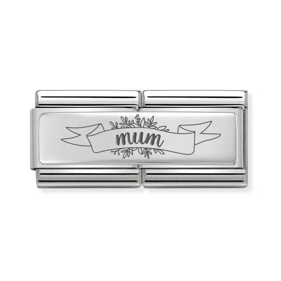 Classic Silver Mum Banner Double Charm