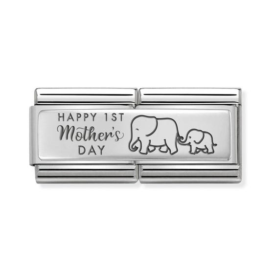 Classic Silver Happy 1st Mother's Day Double Charm