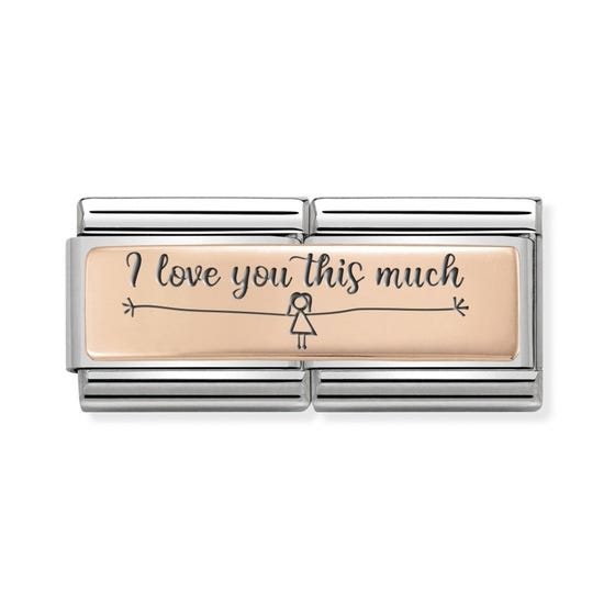 Classic Rose Gold I Love You This Much (Girl) Double Charm