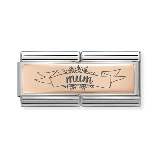 Classic Rose Gold Mum Banner Double Charm