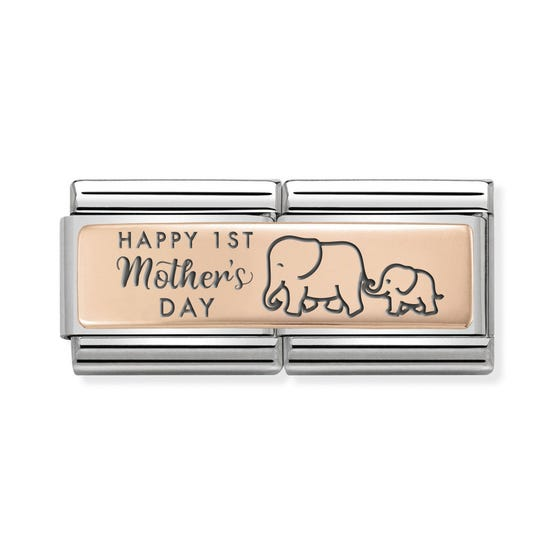 Classic Rose Gold Happy 1st Mother's Day Double Charm