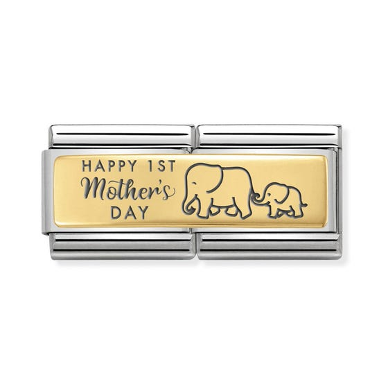 Classic Gold Happy 1st Mother's Day Double Charm
