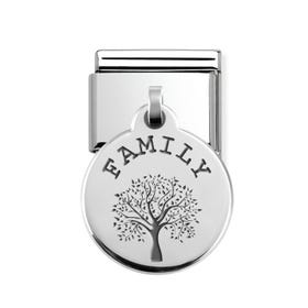 Classic Silver Family Tree Round Pendant Charm
