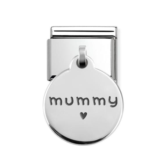 Classic Silver Mummy with Heart Round Pendant Charm