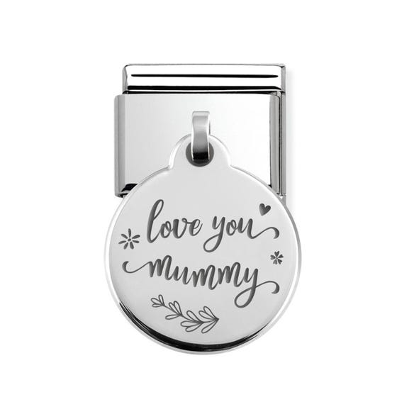 Classic Silver Floral Love You Mummy Round Pendant Charm