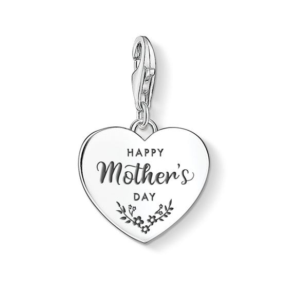 Charm Club Silver Happy Mother's Day Heart Charm