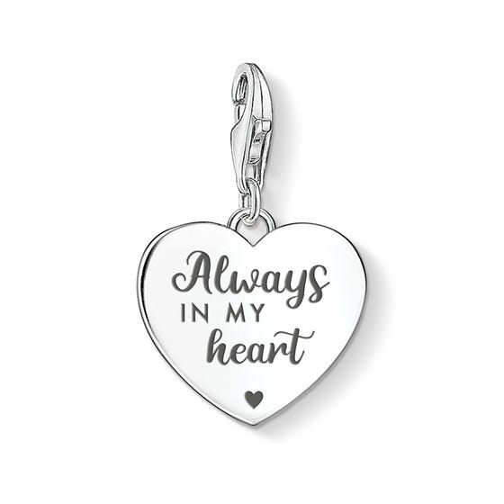 "Charm Club Silver ""Always in my Heart"" Heart Charm"