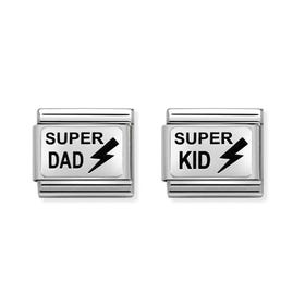 Classic Silver Super Dad & Super Kid Charm Set