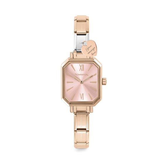 Classic Paris Rose Gold Plated Personalised Heart Engraved Watch