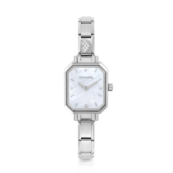 Classic Paris Mother of Pearl Dial CZ Heart Watch