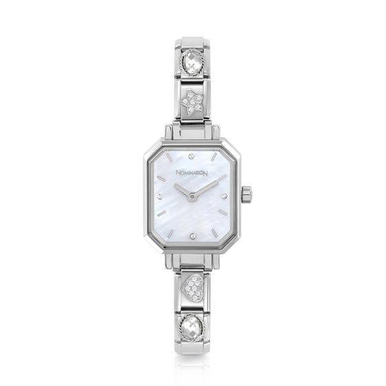 Classic Paris Mother of Pearl Dial Sparkling CZ Watch