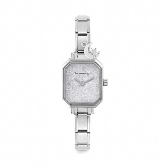 Classic Paris Silver Glitter Dial Moon & Star Watch