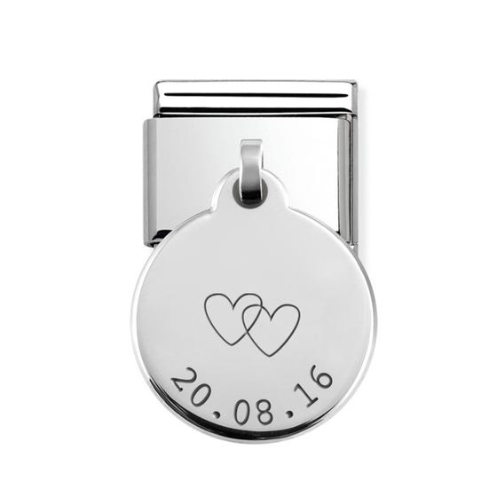 Classic Silver Date With Hearts Round Pendant Charm