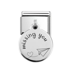 Classic Silver Missing You Round Pendant Charm