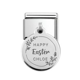 Classic Silver Personalised Happy Easter Round Pendant Charm