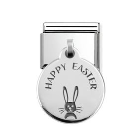 Classic Silver Happy Easter Bunny Round Pendant Charm
