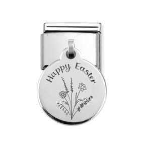 Classic Silver Floral Happy Easter Round Pendant Charm