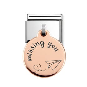 Classic Rose Gold Missing You Round Pendant Charm