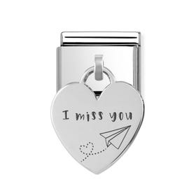 Classic Silver I Miss You Heart Pendant Charm