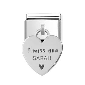 Classic Silver Personalised I Miss You Heart Pendant Charm