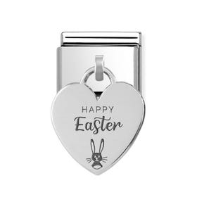 Classic Silver Happy Easter Bunny Heart Pendant Charm