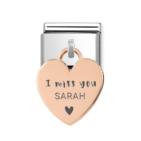 Classic Rose Gold Personalised I Miss You Heart Pendant Charm