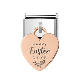Classic Rose Gold Personalised Happy Easter Heart Pendant Charm