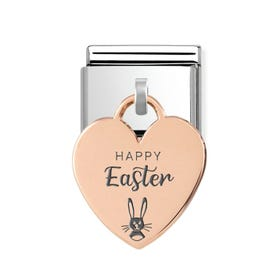 Classic Rose Gold Happy Easter Bunny Heart Pendant Charm