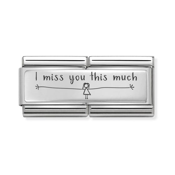 Classic Silver I Miss You This Much (Girl) Double Charm