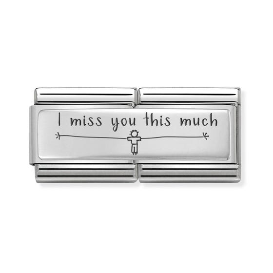 Classic Silver I Miss You This Much (Boy) Double Charm