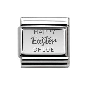 Classic Silver Personalised Happy Easter Charm