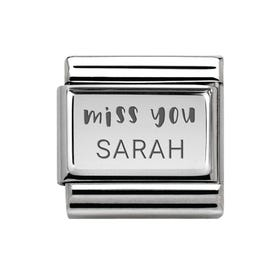 Classic Silver Personalised Miss You Charm