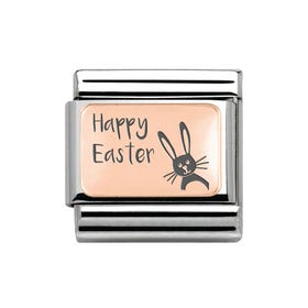 Classic Rose Gold Happy Easter Bunny Charm