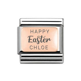 Classic Rose Gold Personalised Happy Easter Charm